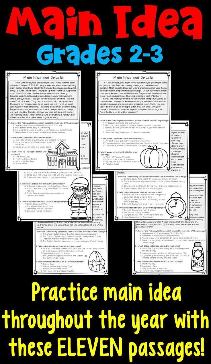 8th Grade Main Idea Worksheets Main Idea and Supporting Details 11 Monthly Worksheets