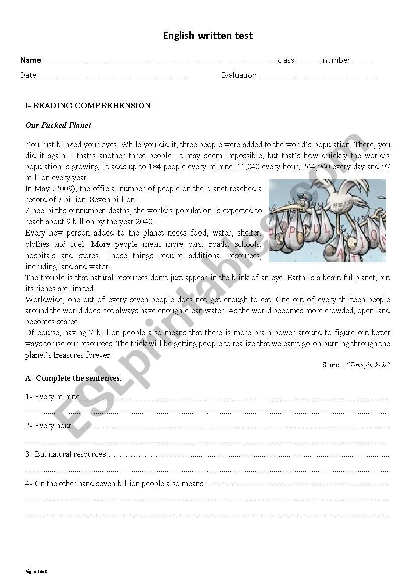 9th Grade Reading Worksheets English Test 9th Grade World Population and Environment