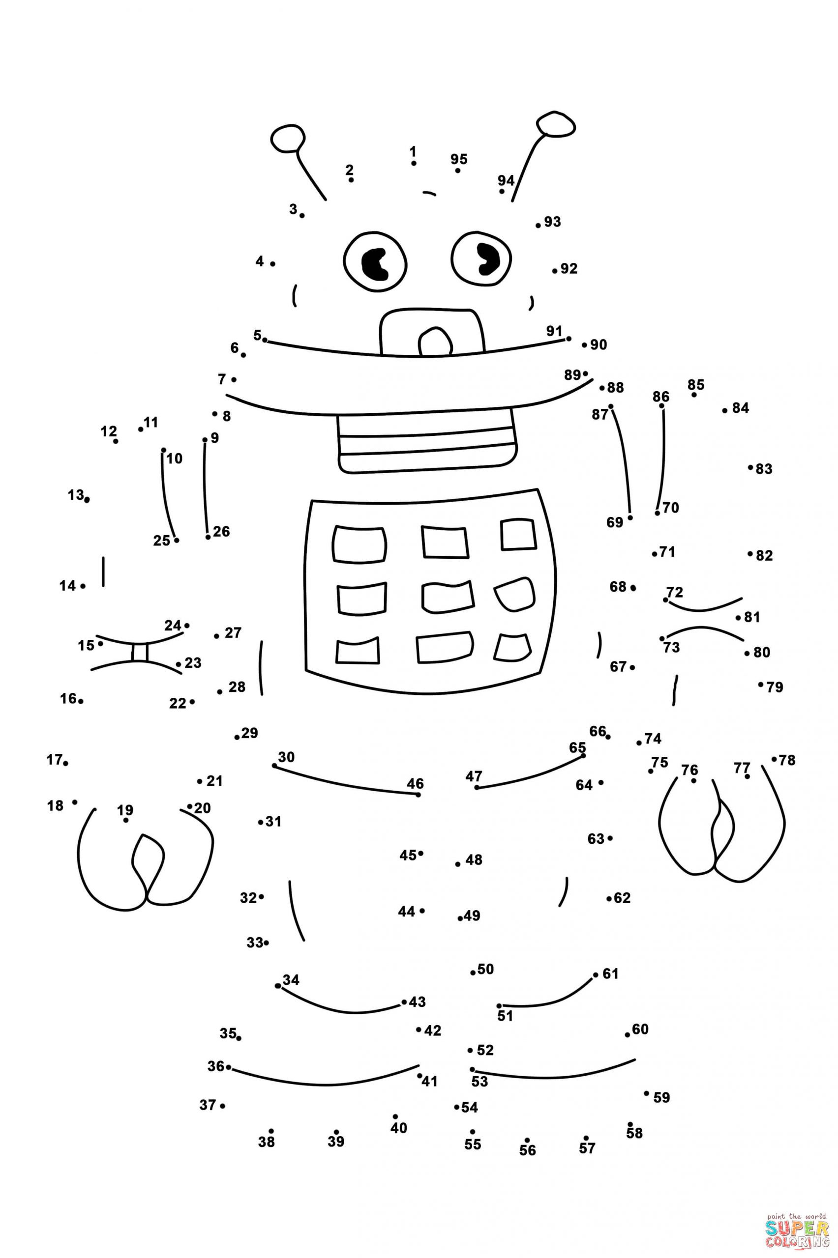 Abc Connect the Dots Printable Connect the Dots Coloring Pages Robot Dot to Free Printable