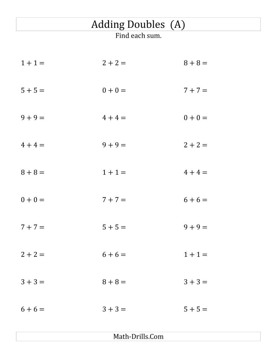 Adding Doubles Worksheet 2nd Grade Adding Doubles Small Numbers Worksheets Pin Word Problems