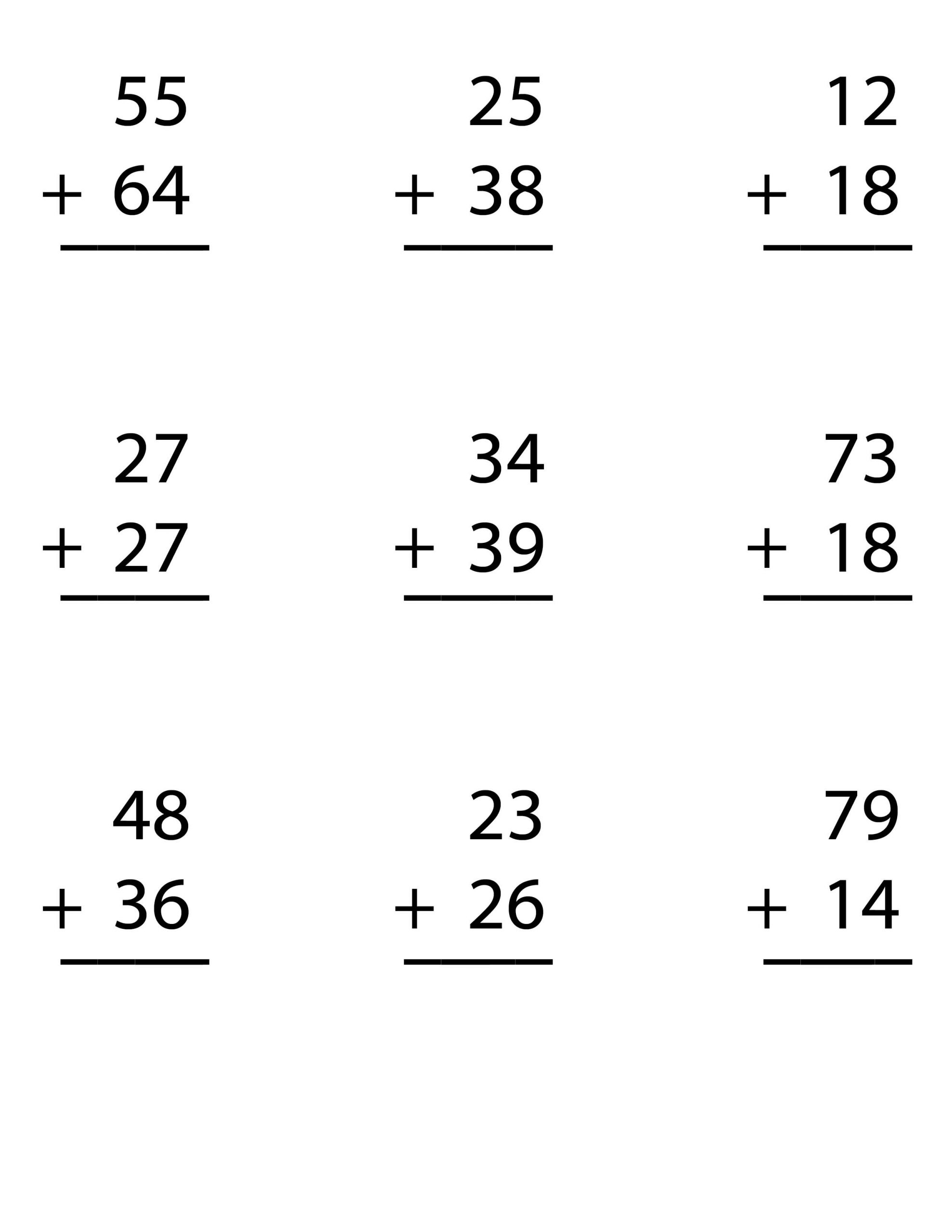 Adding Doubles Worksheet 2nd Grade Try Our Free Worksheet for Double Digit Addition
