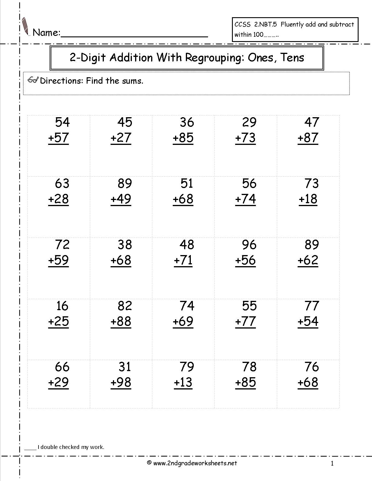 Adding Doubles Worksheet 2nd Grade Two Digit Addition Worksheets Double Math Printable Double