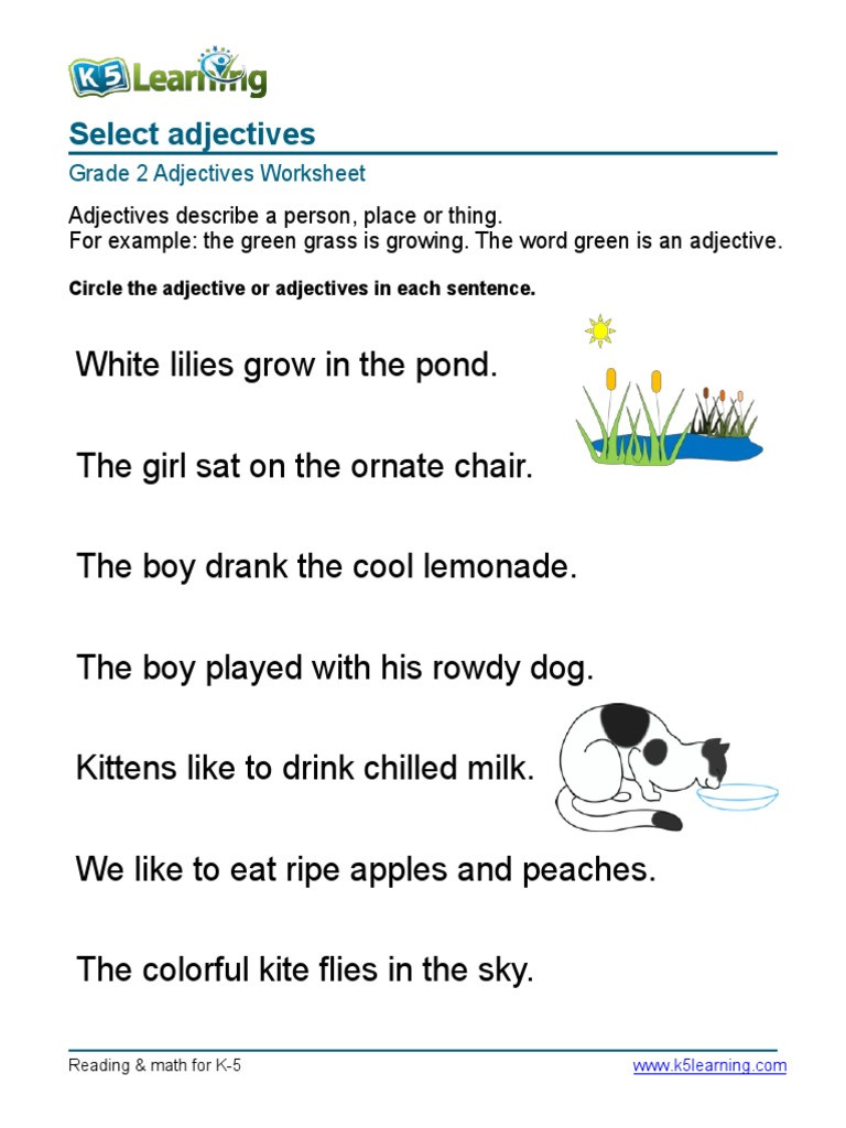 Adjectives Worksheets for Grade 2 2nd Grade Circle Adjective 3 Pdf