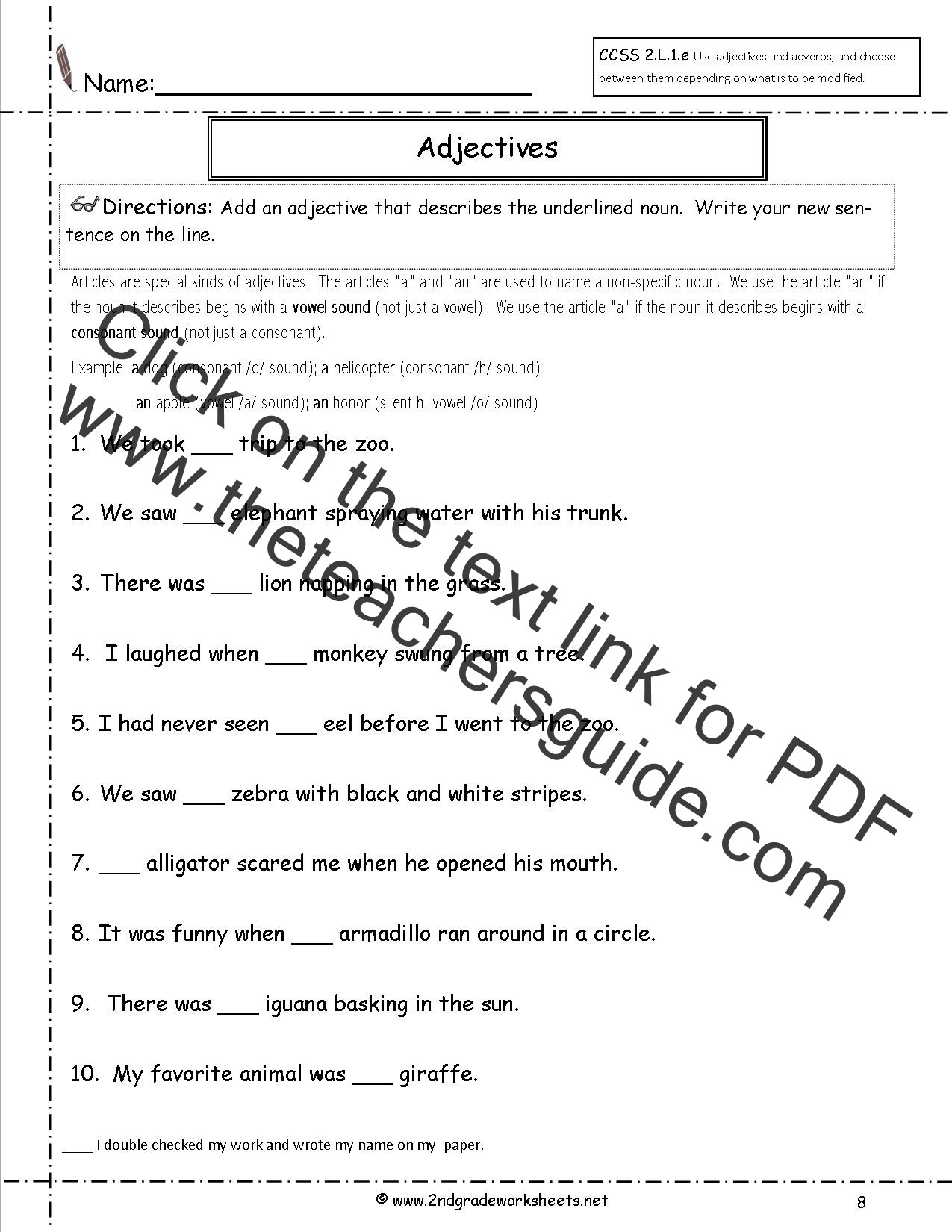 Adjectives Worksheets for Grade 2 Free Language Grammar Worksheets and Printouts