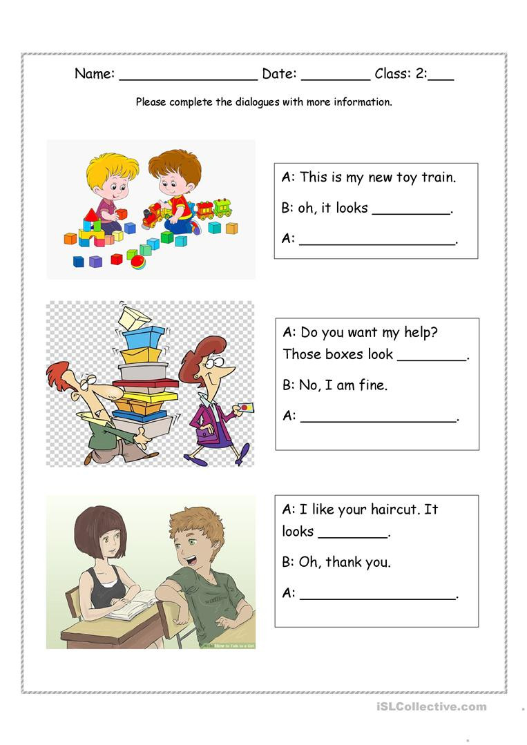 Adjectives Worksheets for Grade 2 Look Adjective Dialogues English Esl Worksheets for