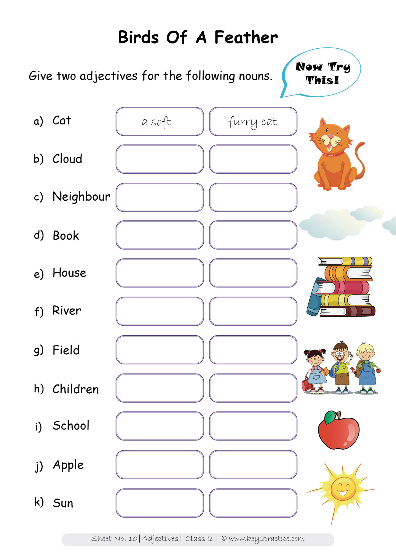 Adjectives Worksheets for Grade 2 Worksheets On Adjectives Grade 2 I English Key2practice