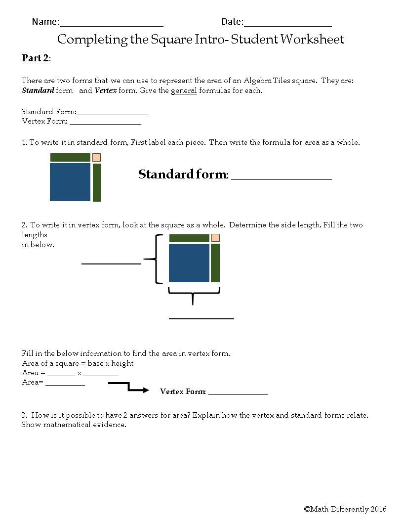 Algebra Tiles Worksheets 6th Grade Pleting the Square Exploration Activity with Algebra
