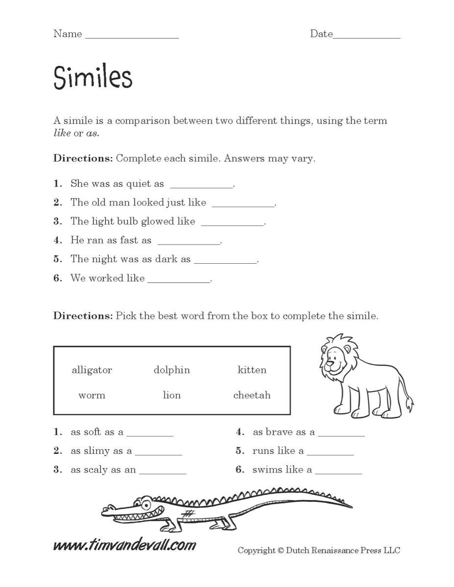 Alliteration Worksheets 4th Grade Simile Worksheet Printable 927—1 200 Pixels