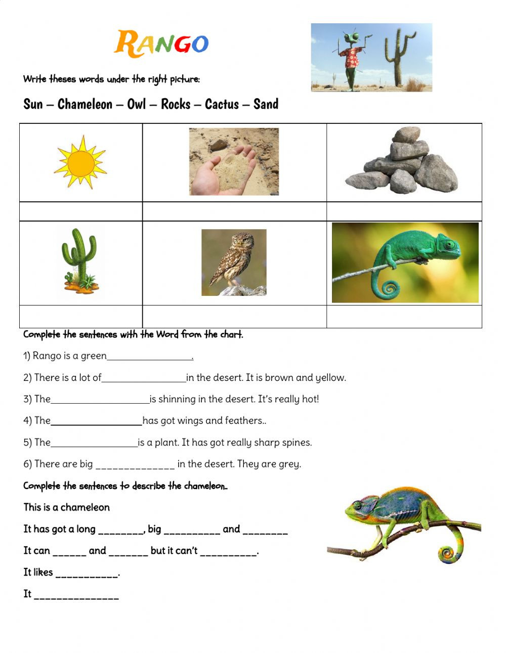 Amphibian Worksheets for Second Grade Rango Interactive Worksheet