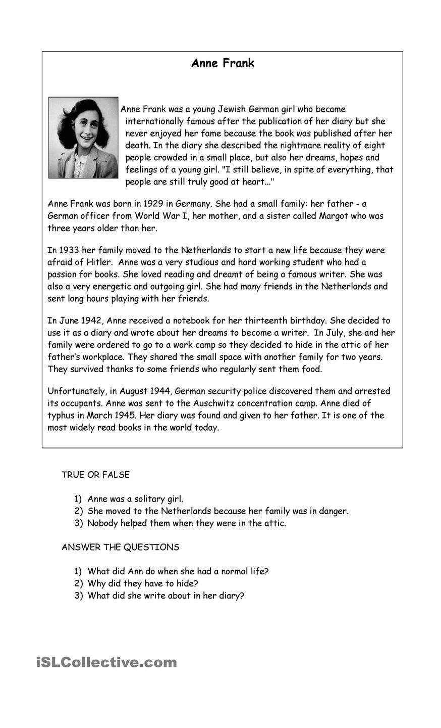Anne Frank Worksheets Middle School Anna Frank