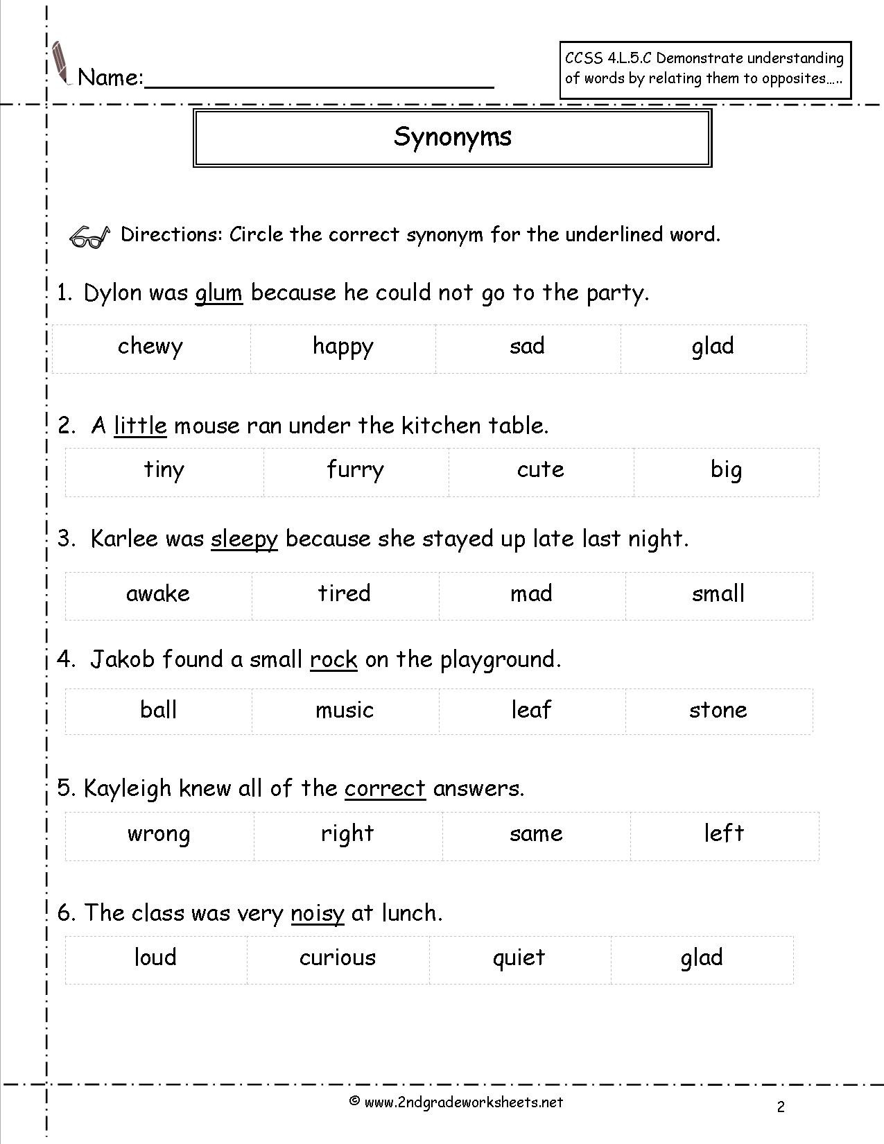 Synonyms And Antonyms Worksheets Antonym For Third Grade