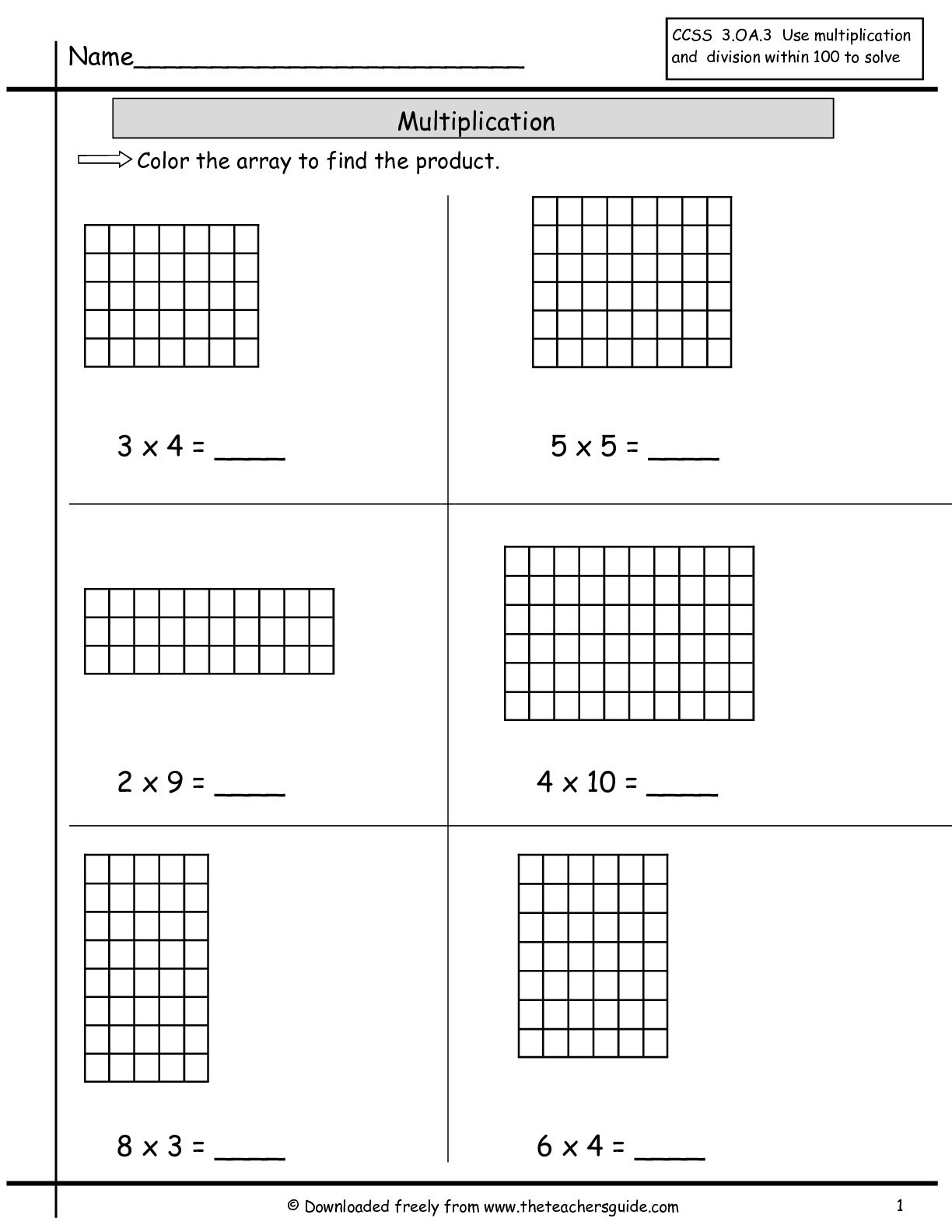 Array Math Worksheets Array Worksheets to Educations Array Worksheets 2nd Grade