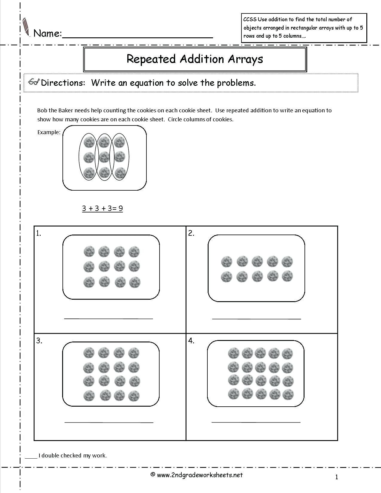 Arrays Worksheets Grade 2 4 Free Math Worksheets Second Grade 2 Addition Add 4 2 Digit