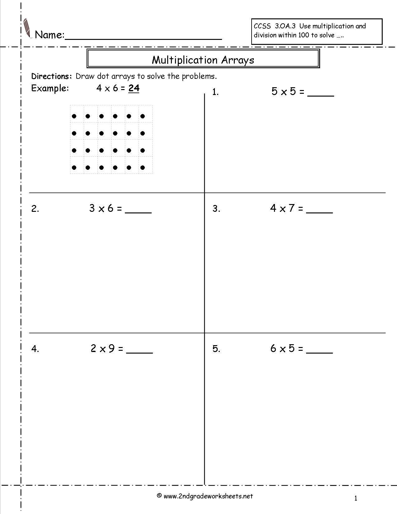 Arrays Worksheets Grade 2 Free Array Worksheets 2nd Grade Free Preschool