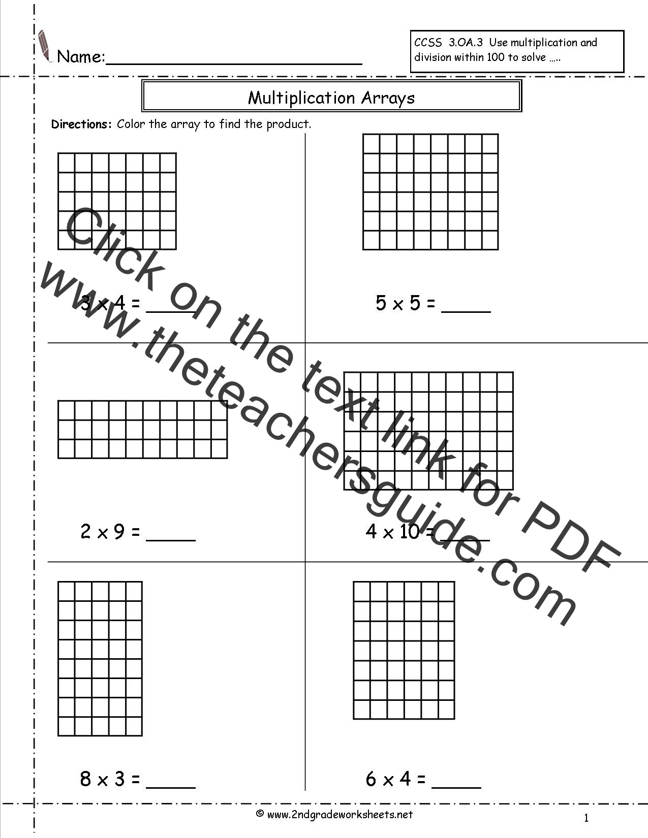 Arrays Worksheets Grade 2 Multiplication Arrays Worksheets
