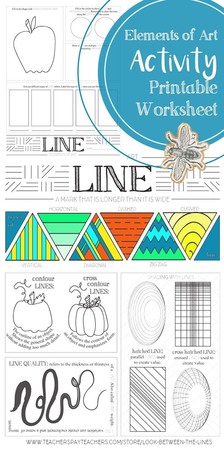 Art Worksheets Middle School Line Elements Of Art Printable Worksheet Elementary
