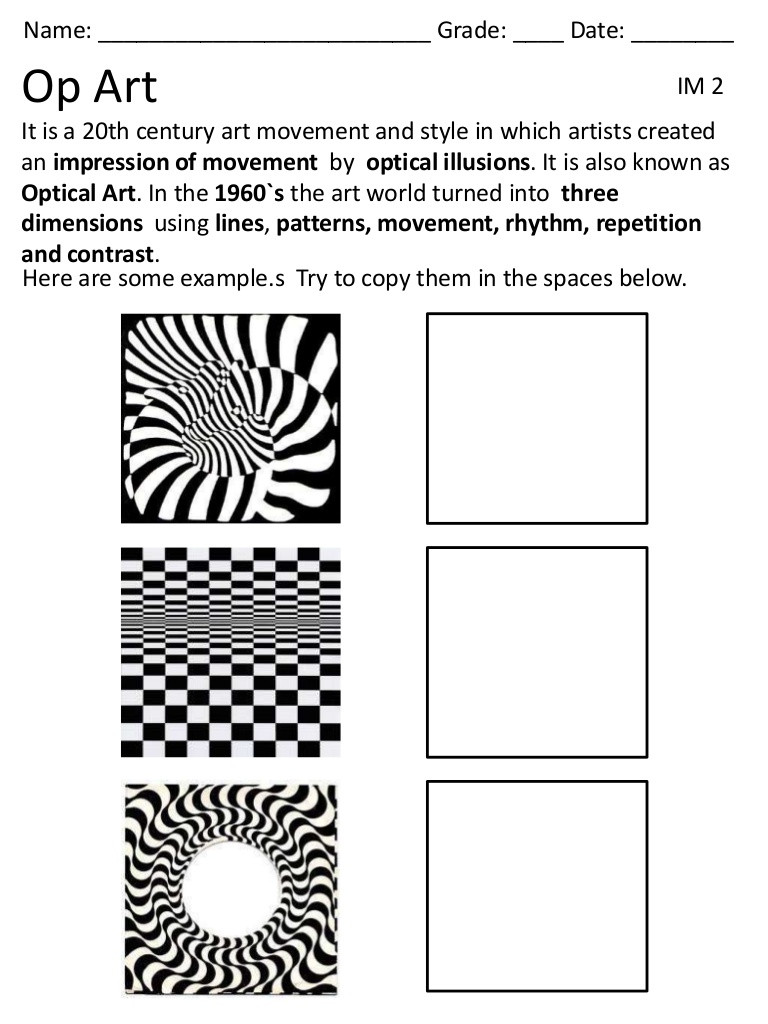 Art Worksheets Middle School Op Art Lessons Tes Teach