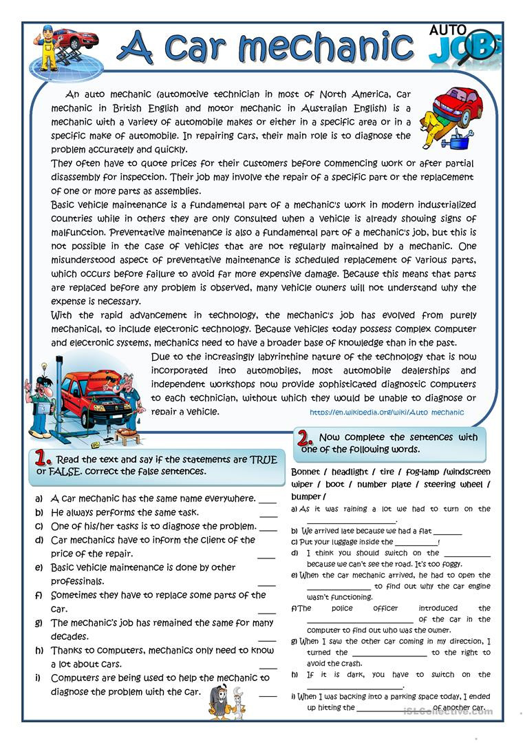 Automotive Worksheets for Highschool Students A Car Mechanic English Esl Worksheets for Distance