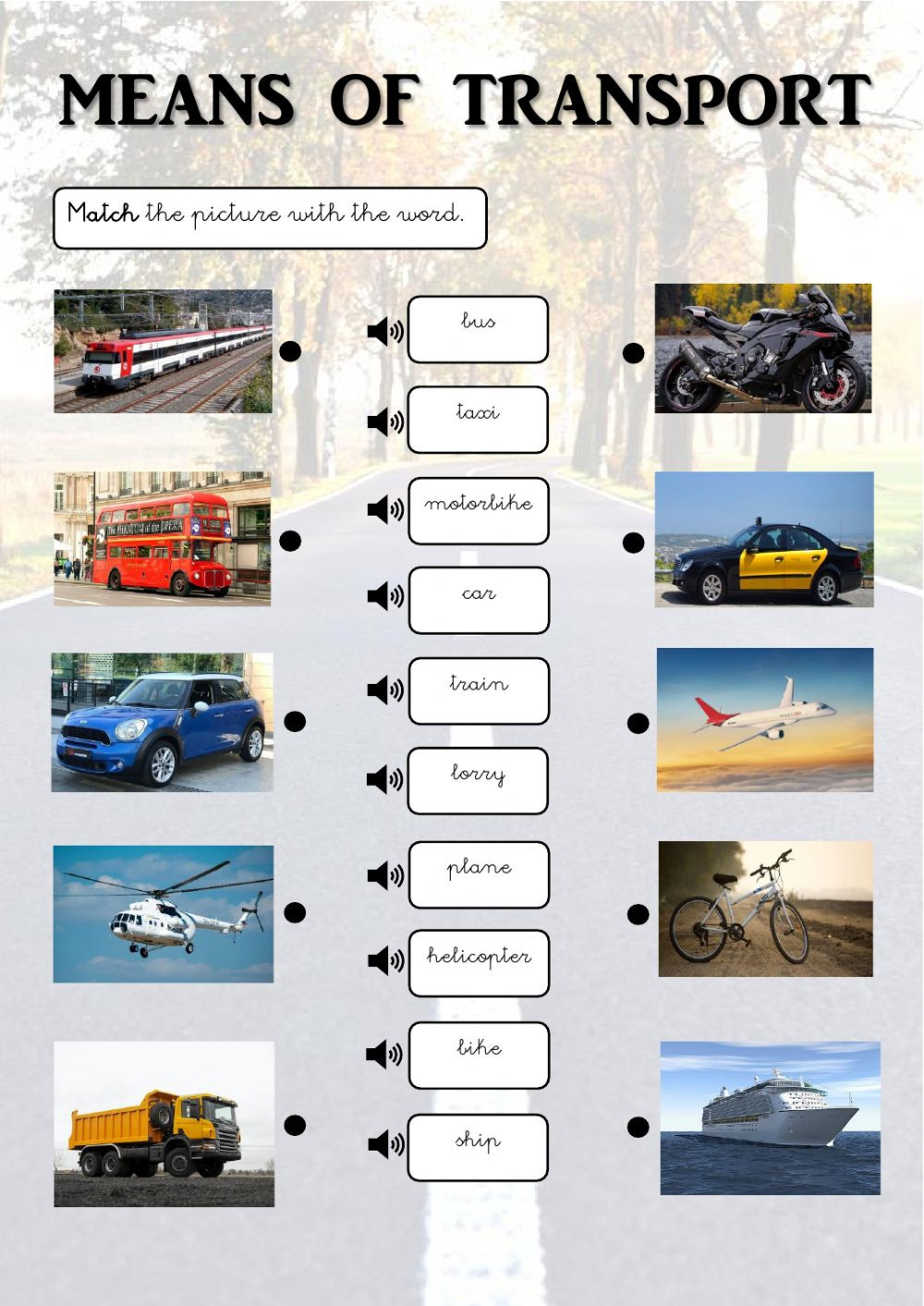 Automotive Worksheets for Highschool Students Means Of Transport Interactive Worksheet