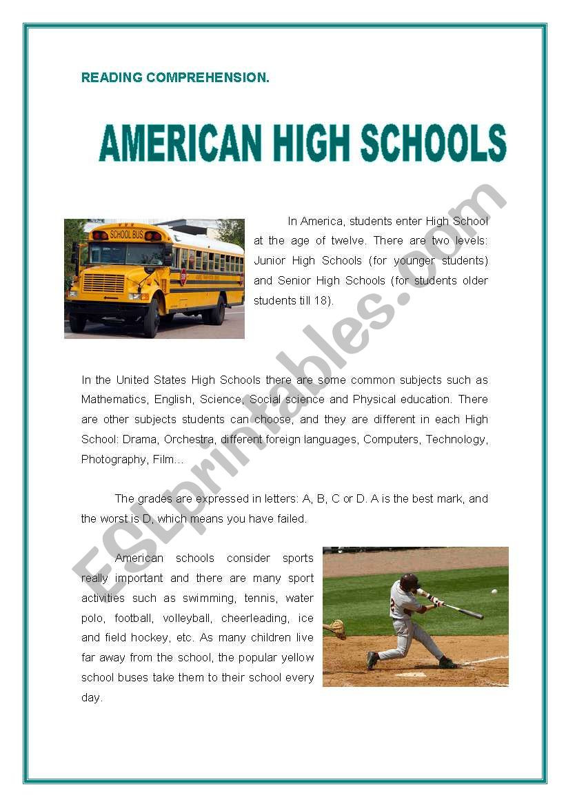 Automotive Worksheets for Highschool Students Reading American High Schools Esl Worksheet by Preiselbeeren