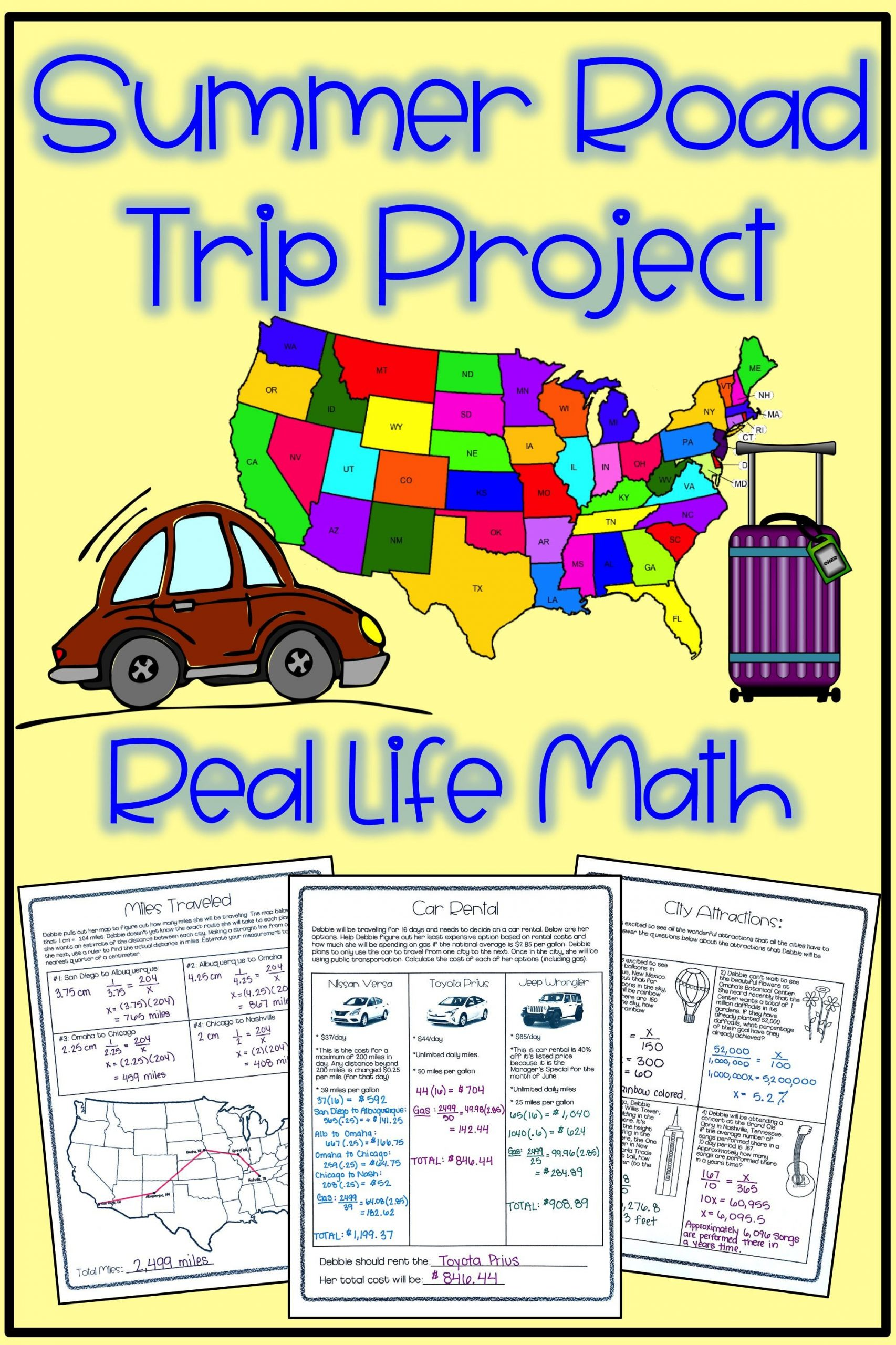 Automotive Worksheets for Highschool Students Real Life Math Project Summer Road Trip