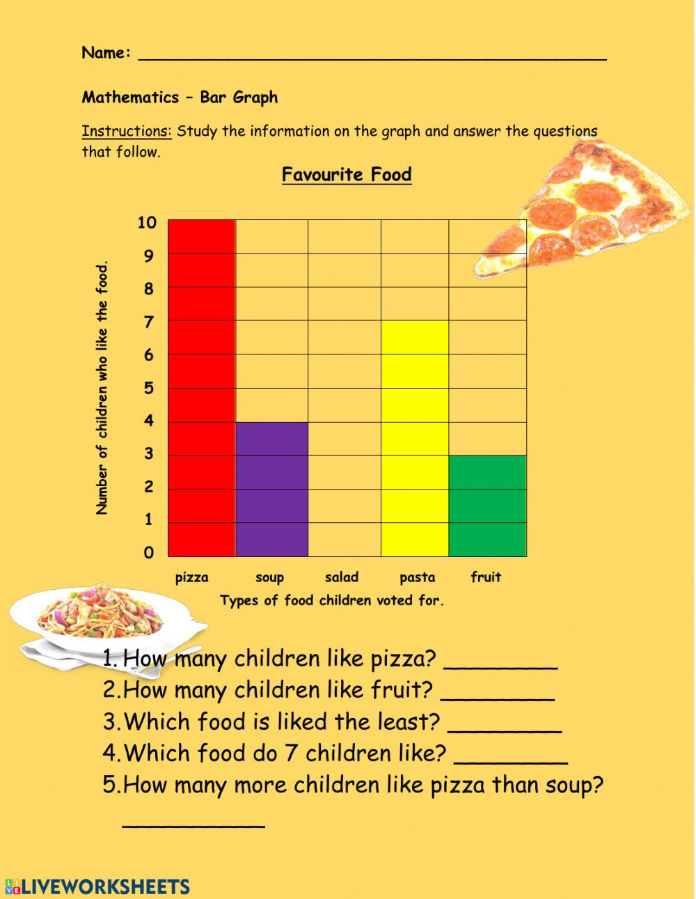 Bar Graph Worksheets Grade 7 Bar Graph Favourite Food Interactive Worksheet