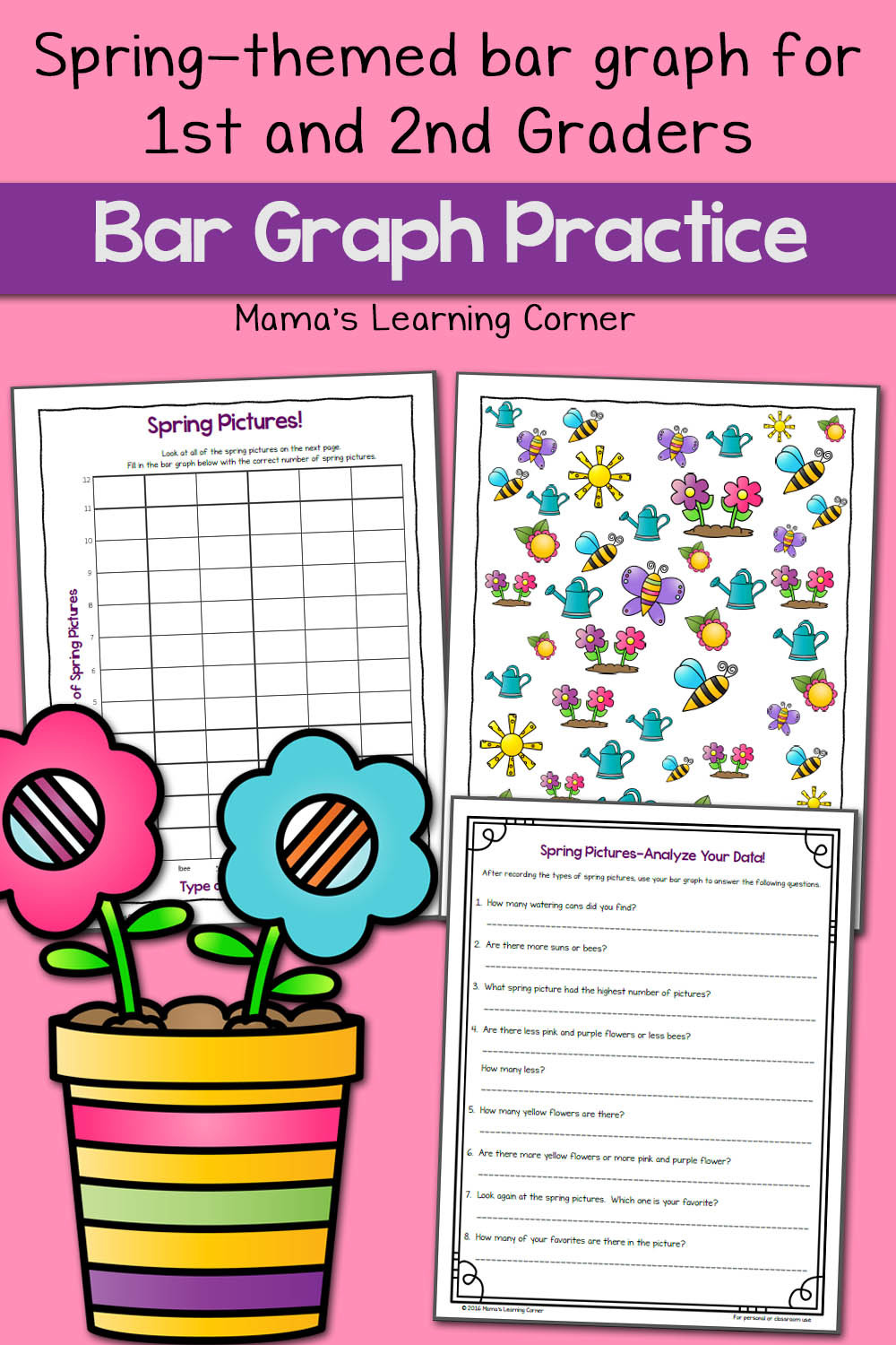 Bar Graph Worksheets Grade 7 Spring Picture Bar Graph Worksheets Mamas Learning Corner