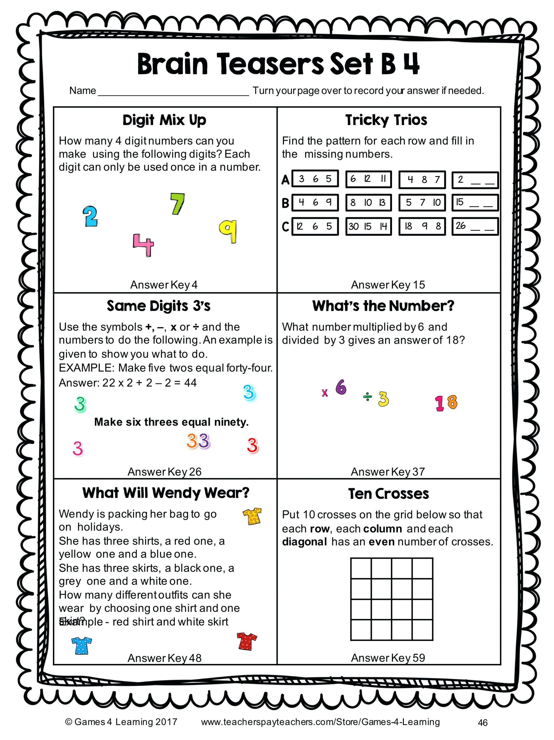 Brain Teasers Printable Worksheets 22 Interesting Printable Brain Teasers