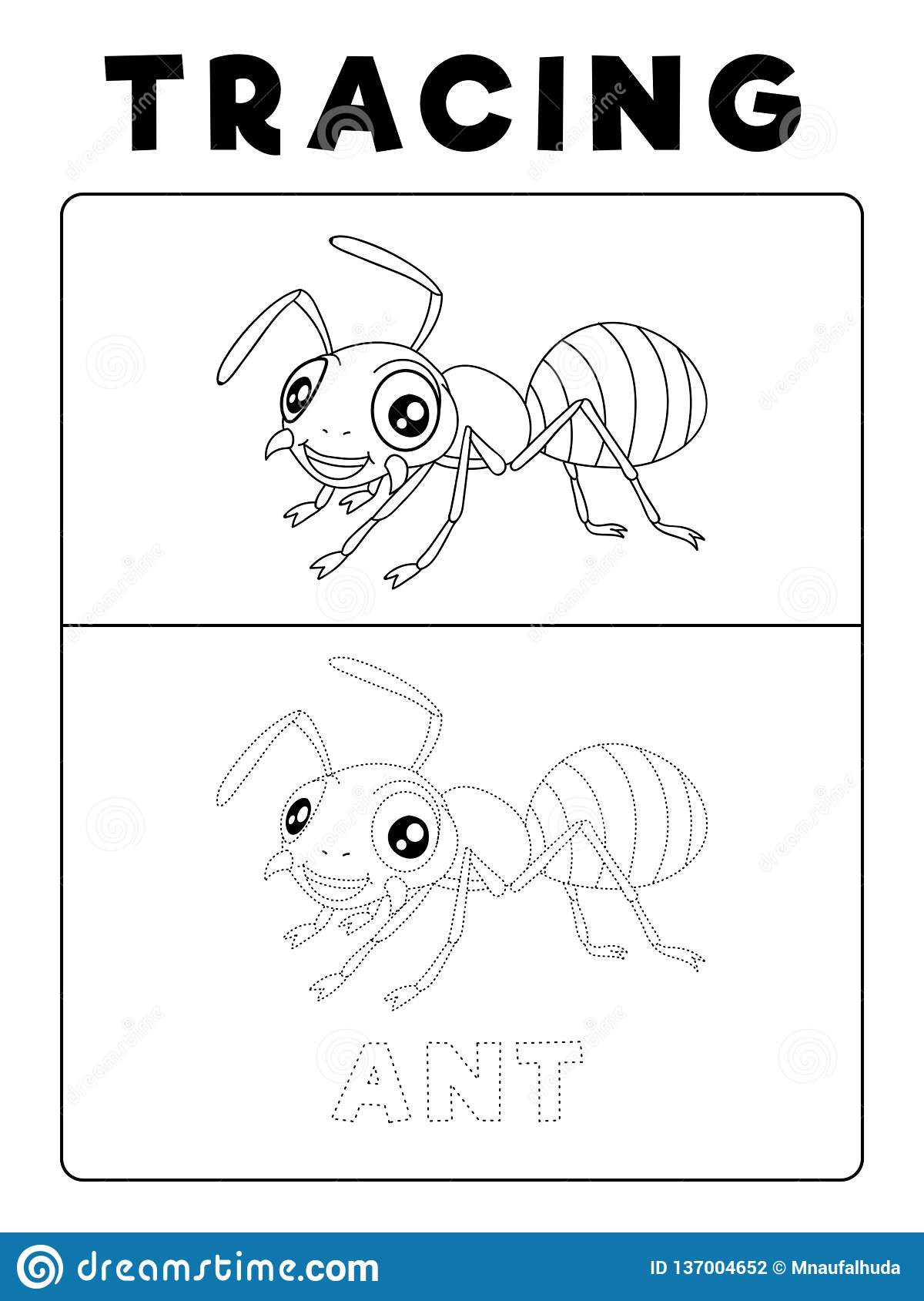 Bug Worksheets for Preschool Funny Ant Insect Animal Tracing Book with Example Preschool