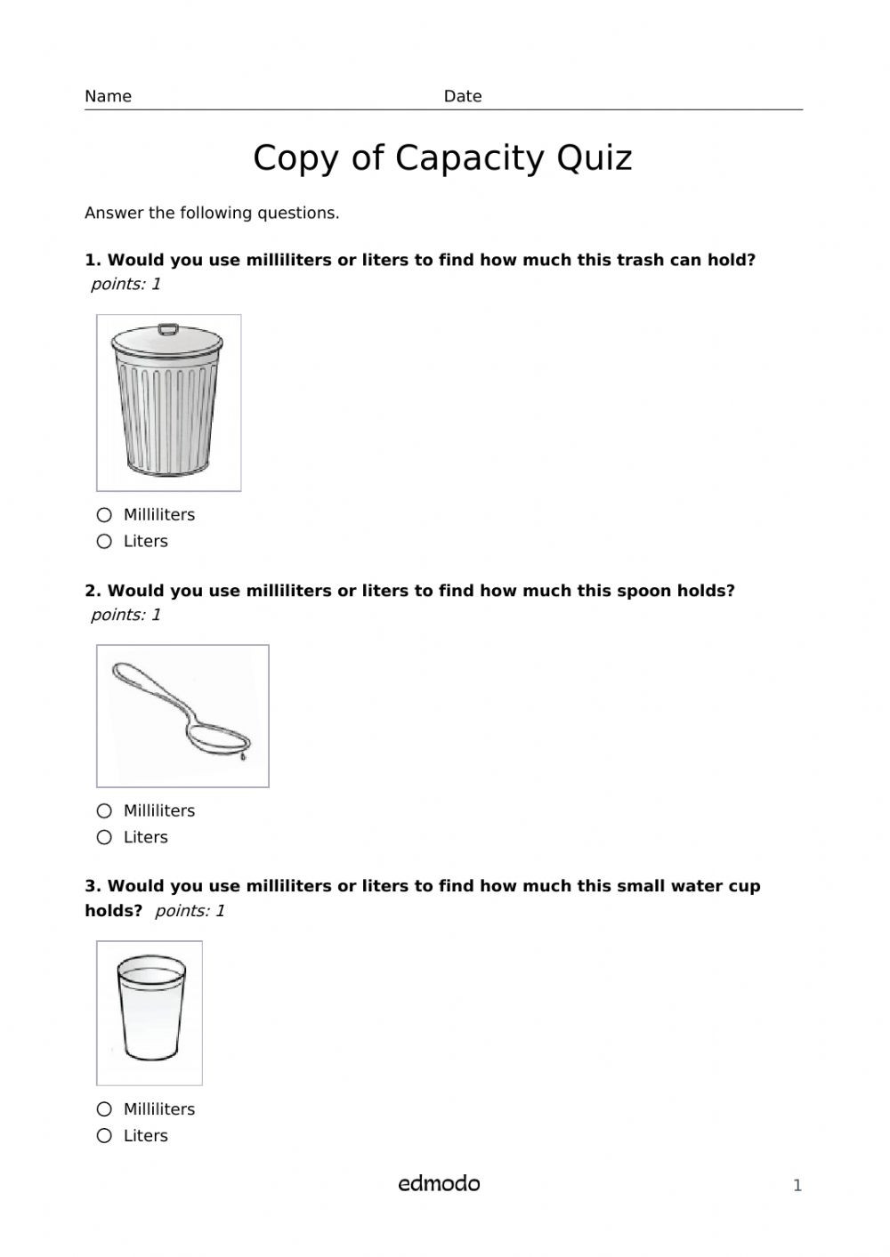 Capacity Maths Worksheets Capacity Quiz Interactive Worksheet