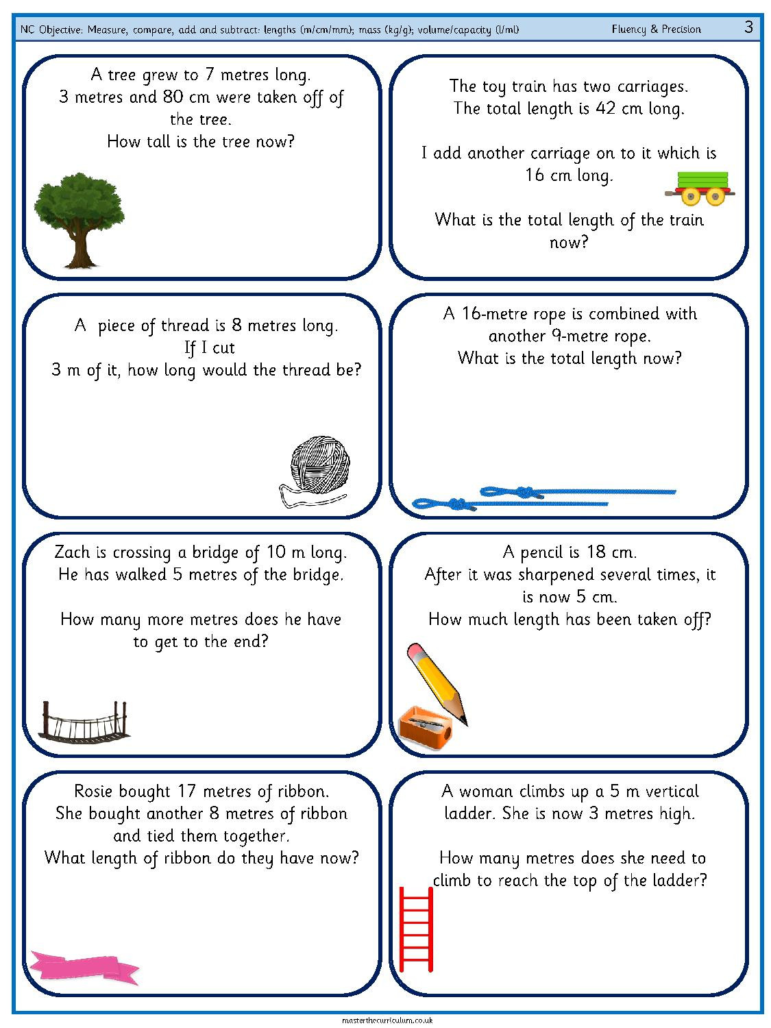 Capacity Maths Worksheets Measure Pare Add and Subtract Lengths M Cm Mm