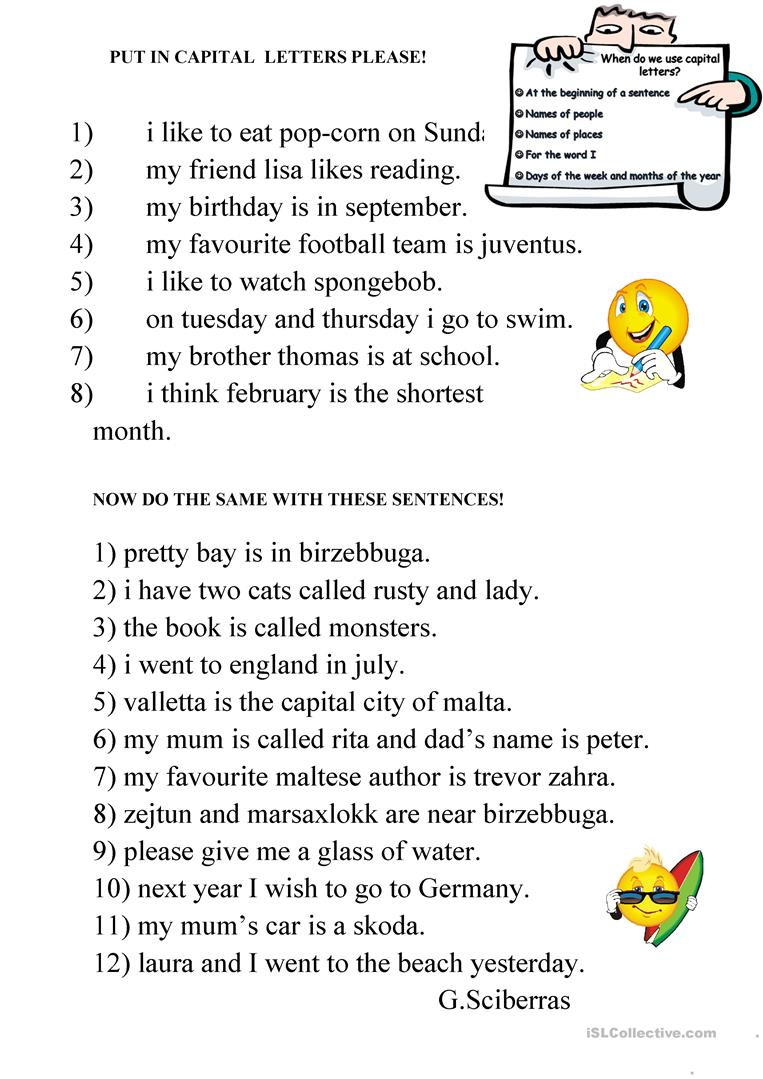 Capitalization Worksheet Middle School Capital Letters English Esl Worksheets for Distance