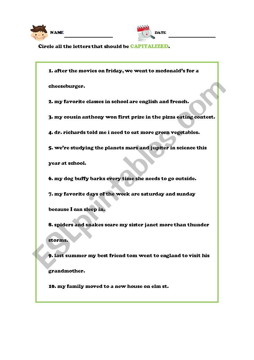 Capitalization Worksheet Middle School Capitalization with Answer Key Esl Worksheet by Shyan818