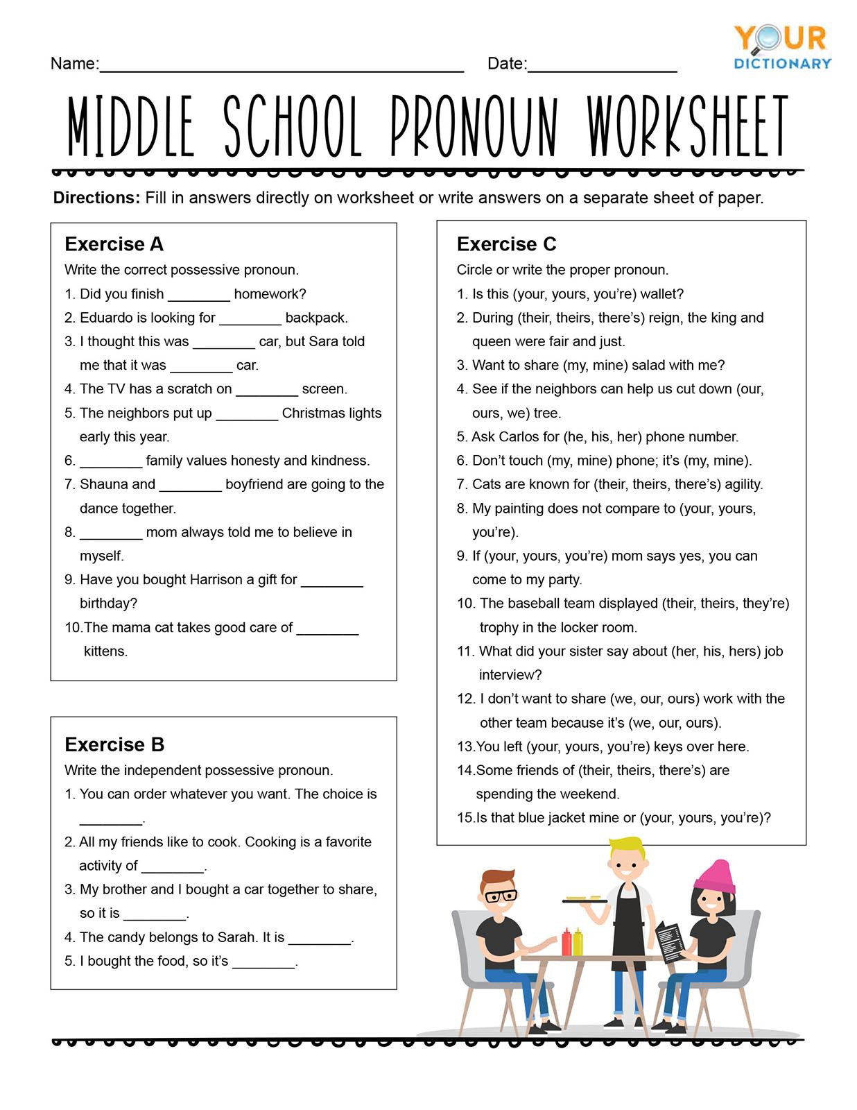Capitalization Worksheet Middle School Pronoun Worksheets for Practice and Review