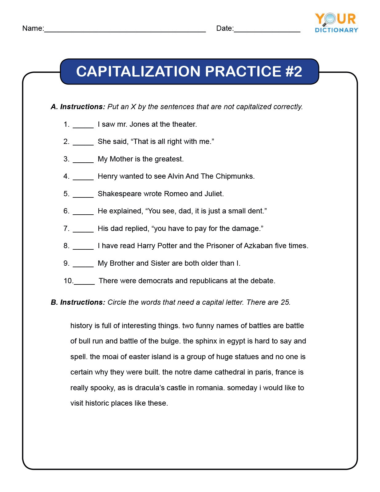 Capitalization Worksheets Grade 1 4th Grade Capitalization Worksheets