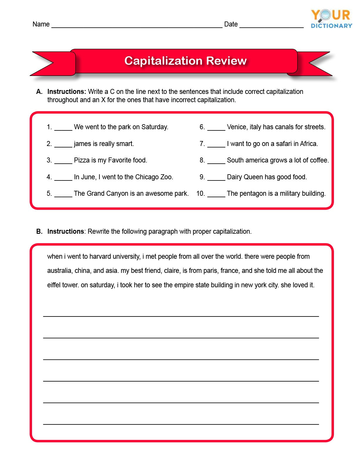 Capitalization Worksheets Grade 1 Capitalizations Worksheet Third Grade