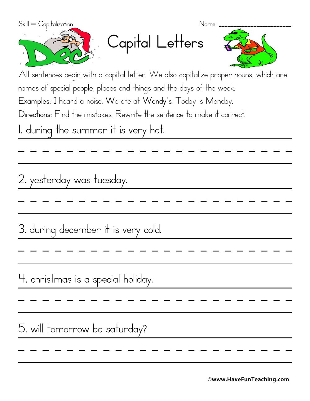 Capitalization Worksheets Grade 1 Fixing Capitalization Errors Worksheet