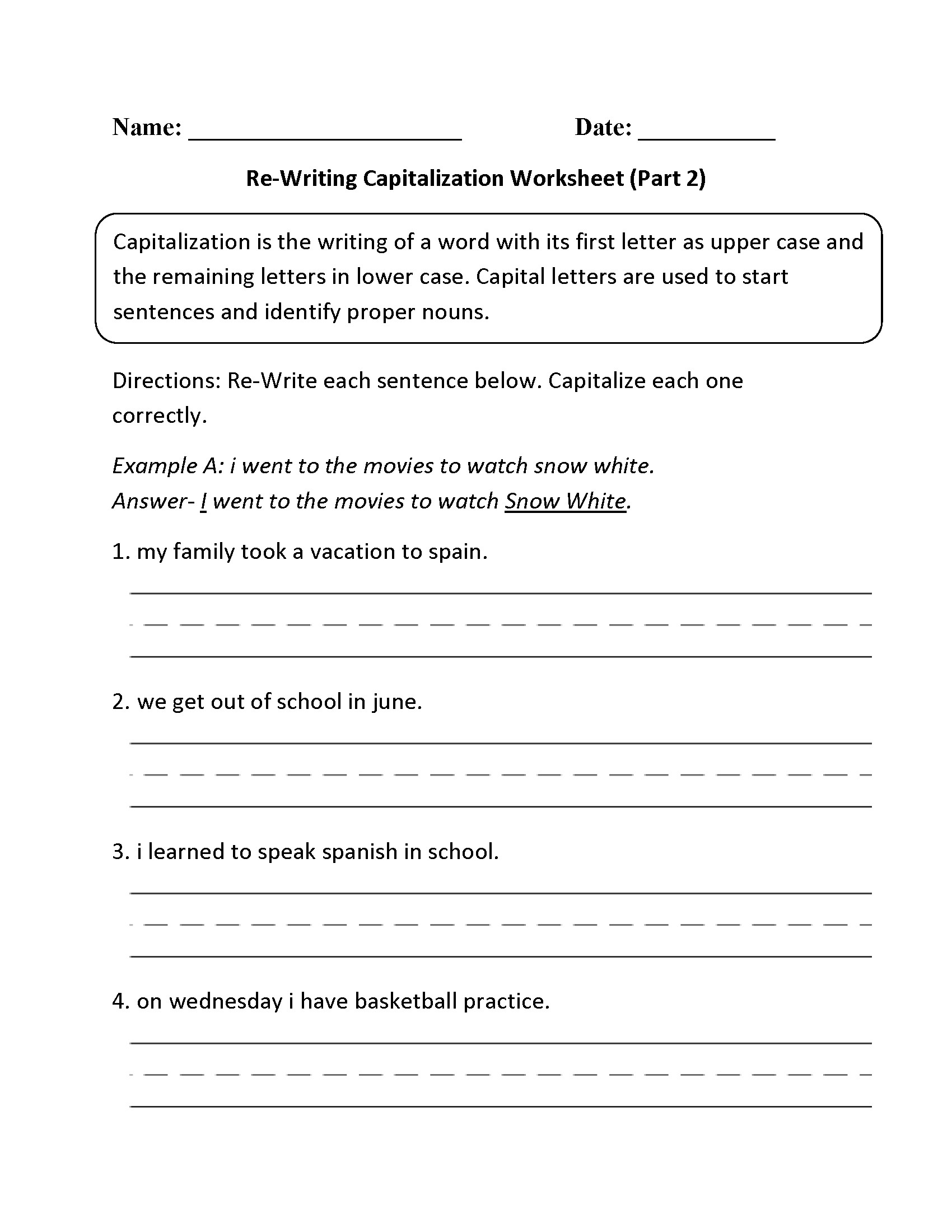 Capitalization Worksheets Grade 1 Simple Punctuation Capitalization Worksheet