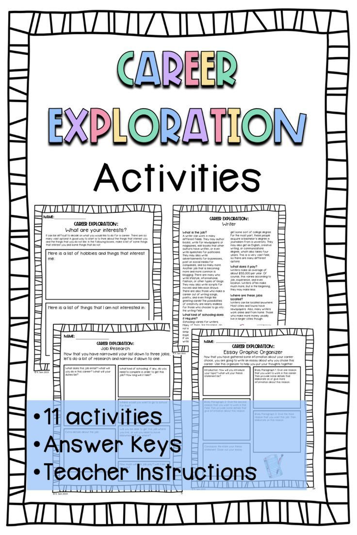 Career Worksheets for Middle School Career Exploration Activities Printable Worksheets Grades