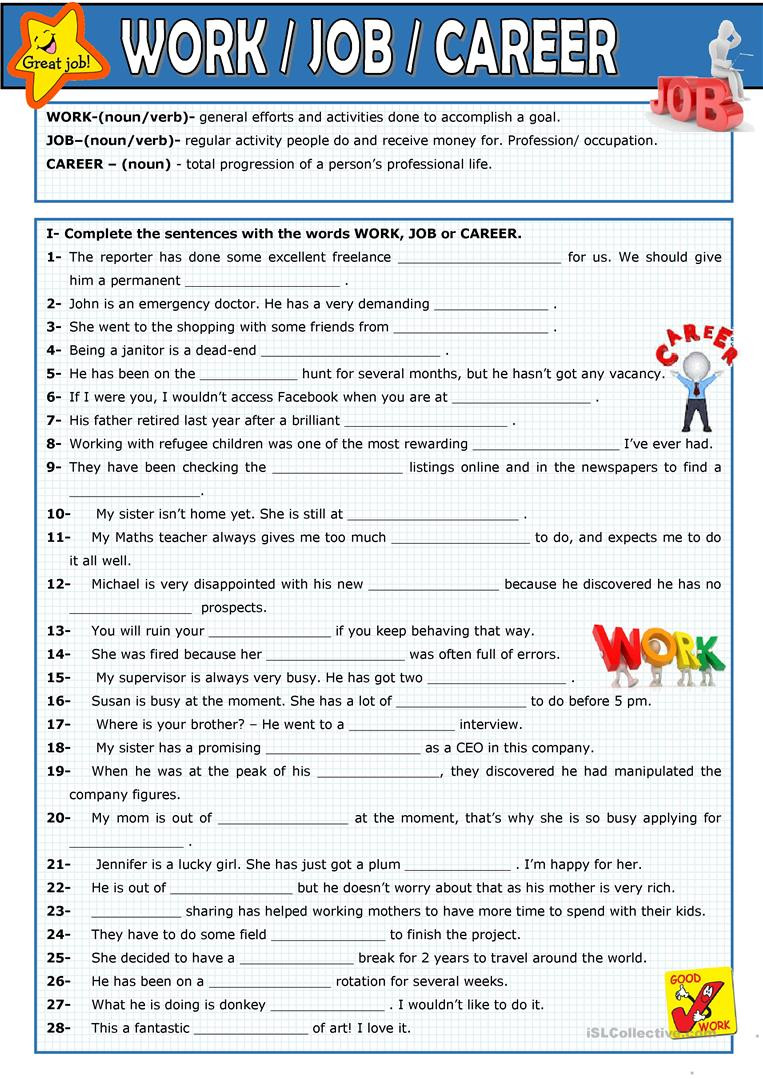 Career Worksheets for Middle School English Esl Career Worksheets Most Ed 31 Results