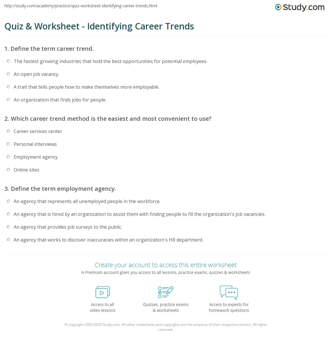 Career Worksheets for Middle School Quiz & Worksheet Identifying Career Trends