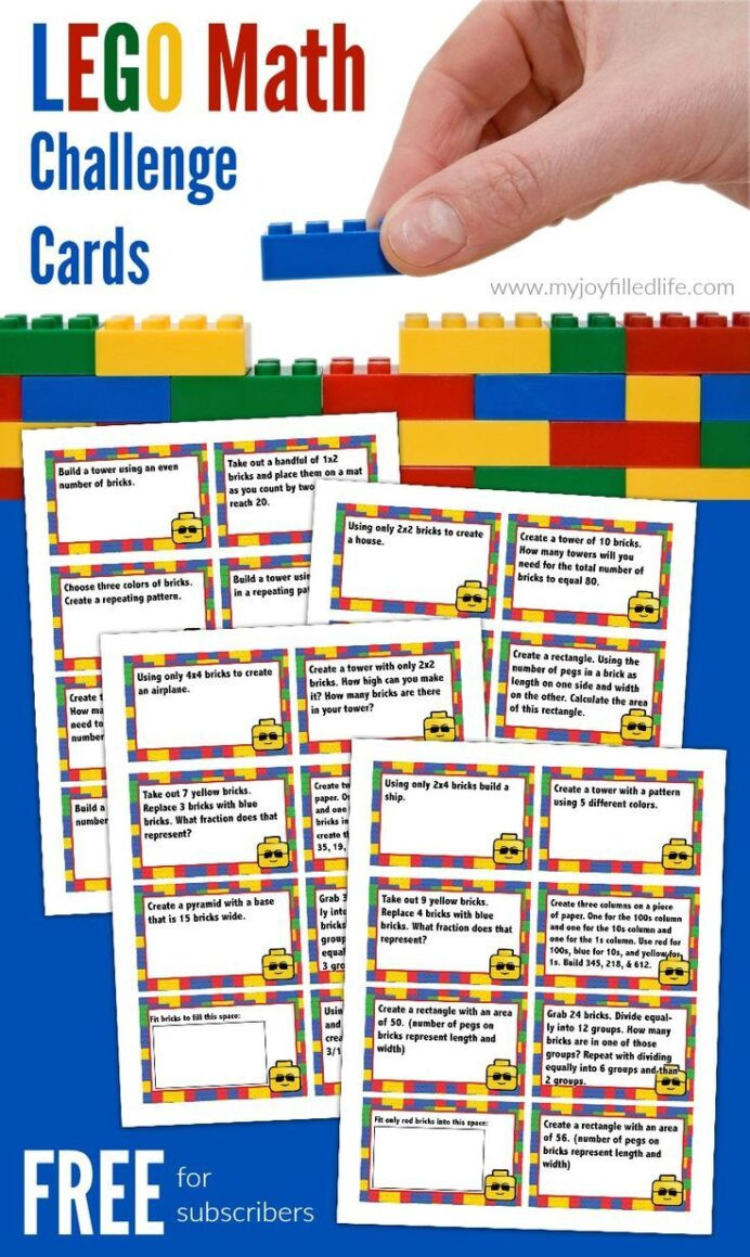 Challenge Math Worksheets Free Printable Lego Math Challenge Cards Worksheets Higher