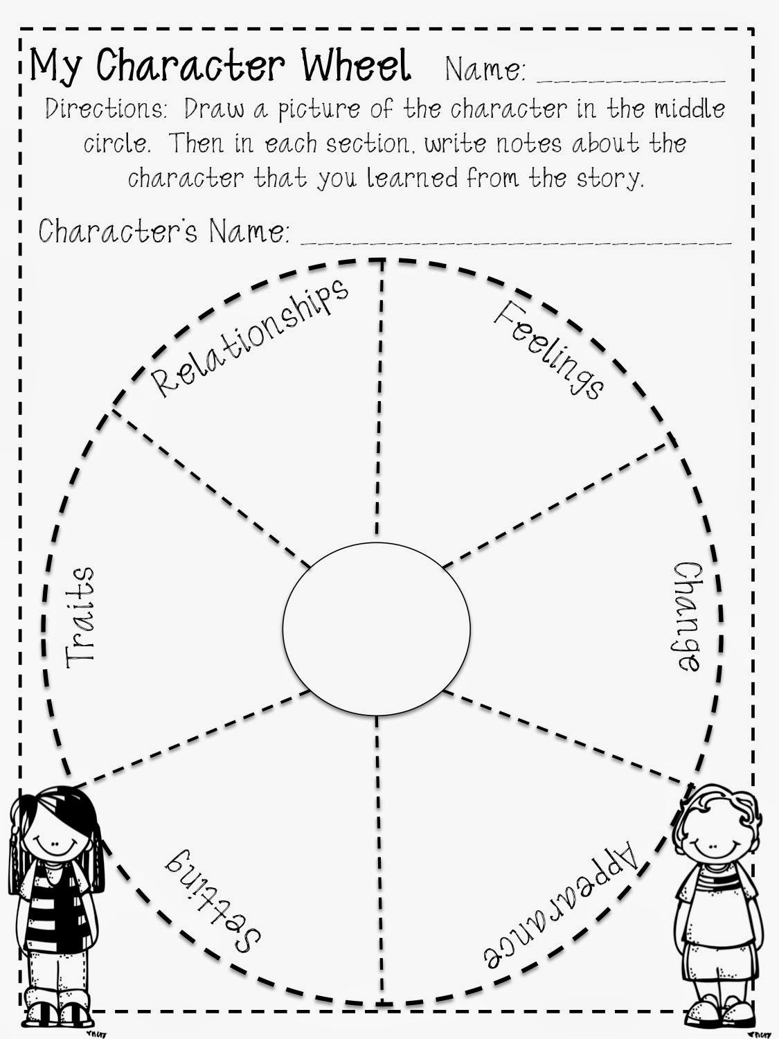Character Traits Worksheet 2nd Grade Reading Character Wheel Freebie