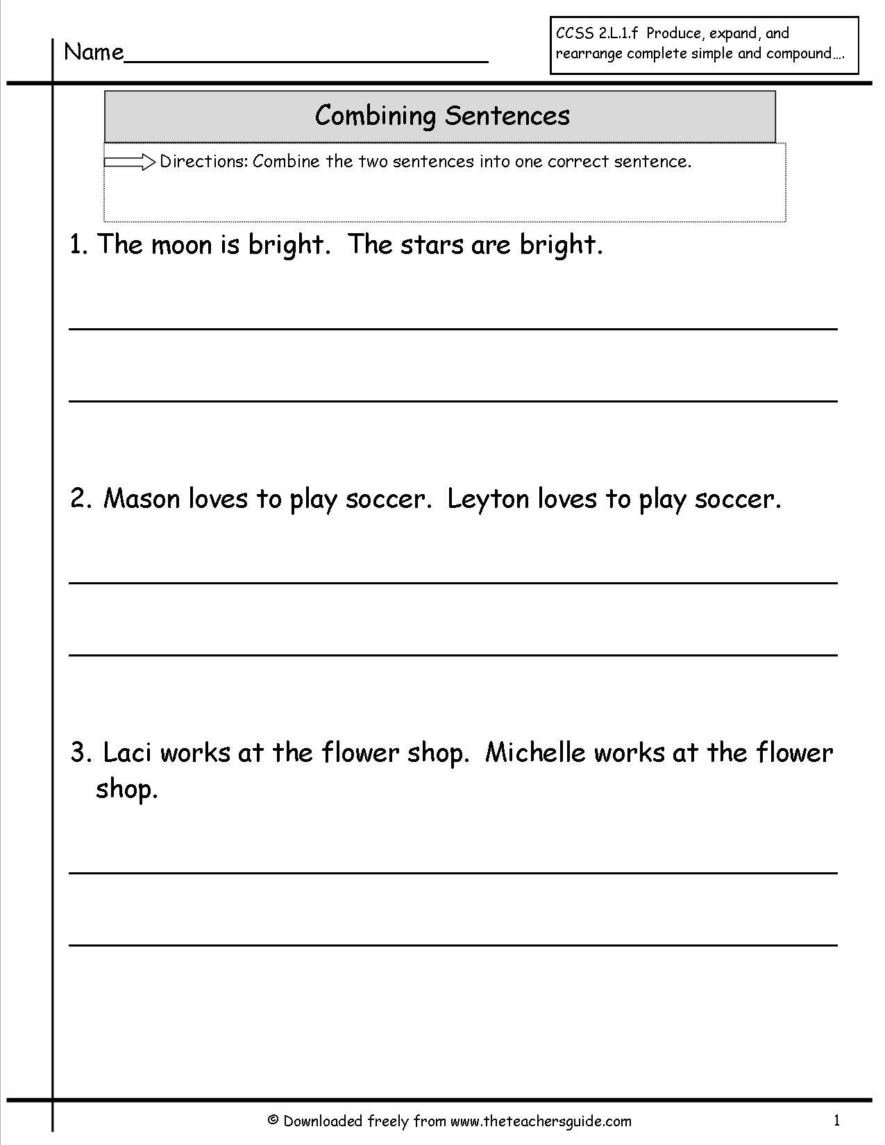 Combining Sentences Worksheet 3rd Grade Wonders Second Grade Unit E Week Five Printouts