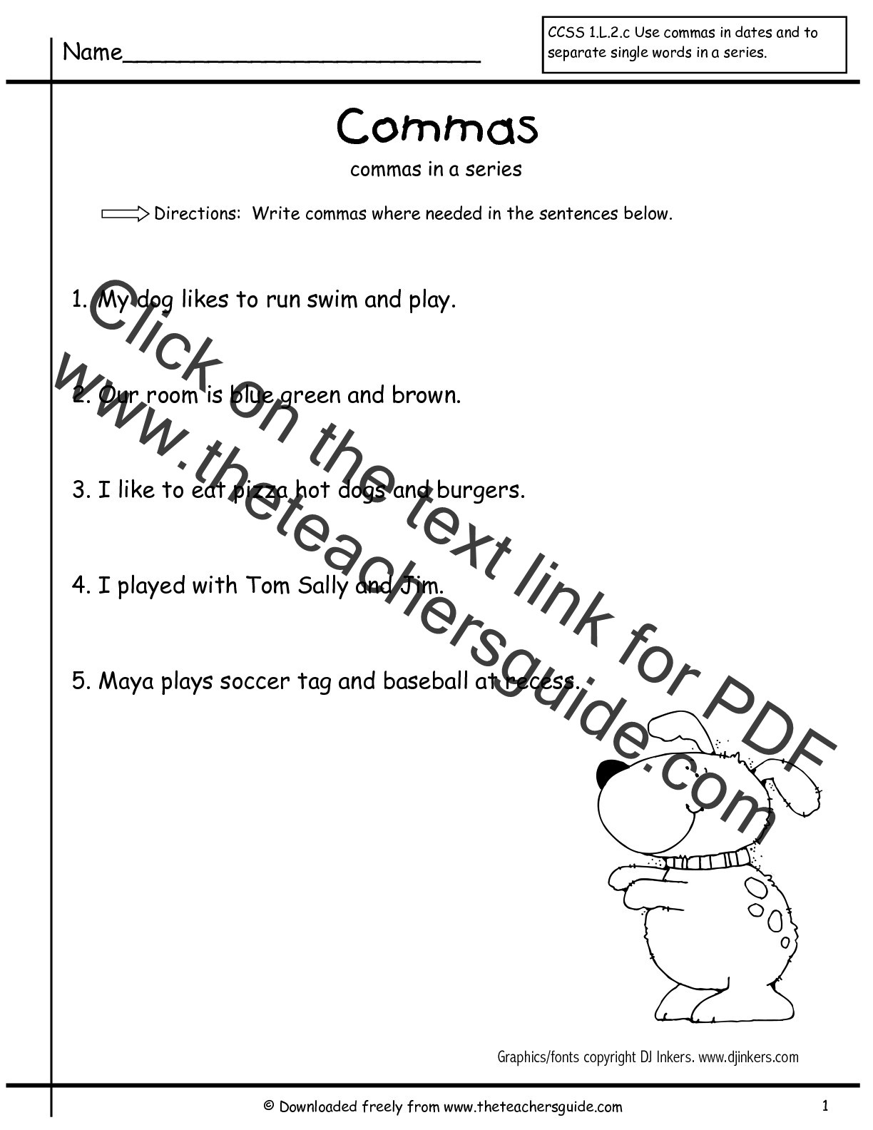Comma Worksheet Middle School Pdf Ma Worksheets 2nd Grade