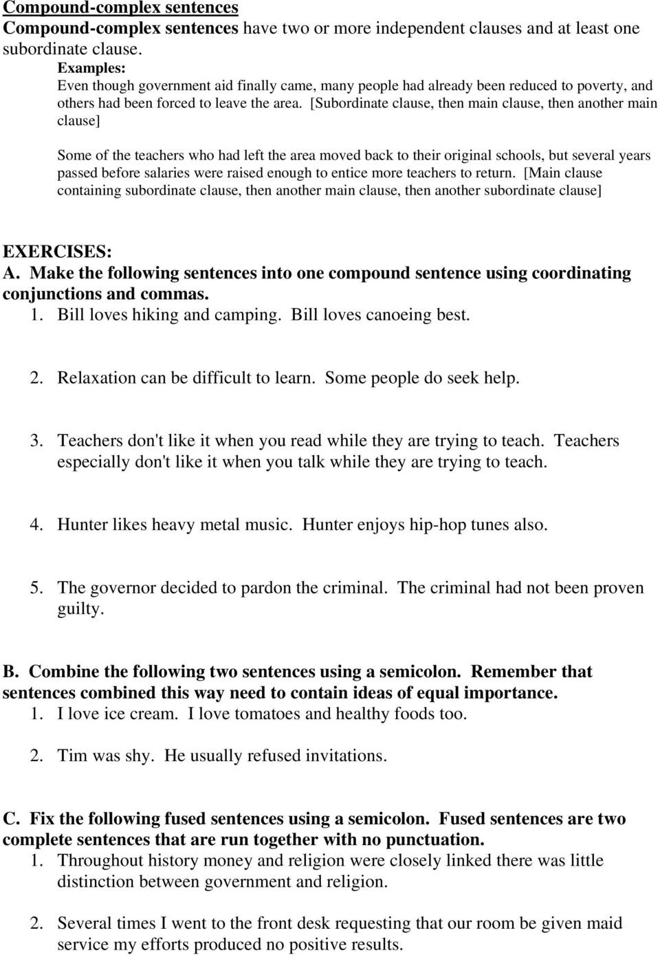 Comma Worksheet Middle School Pdf Sentence Bining Part E Pdf Free Download
