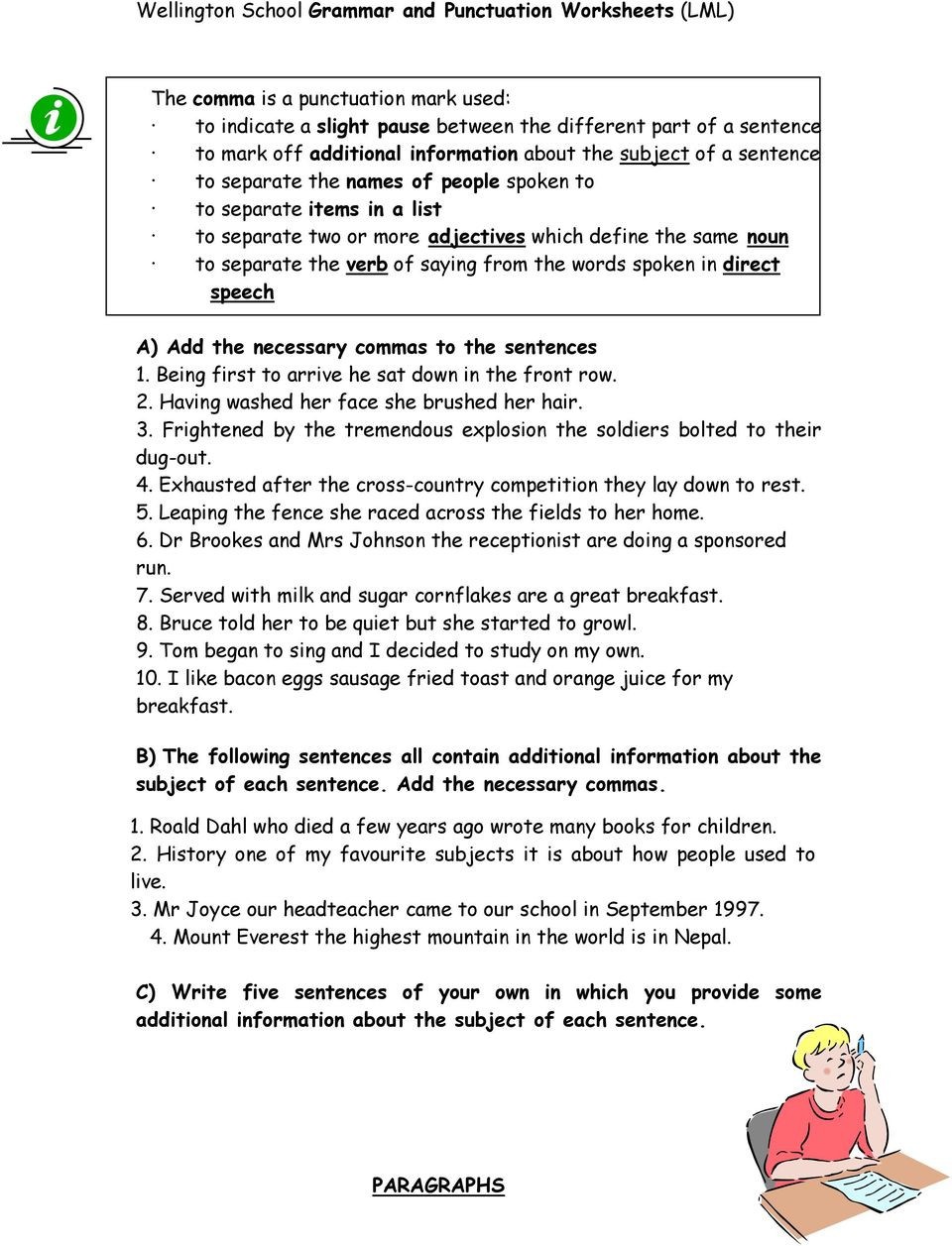 Comma Worksheets High School Pdf Grammar and Punctuation Worksheets Pdf Free Download