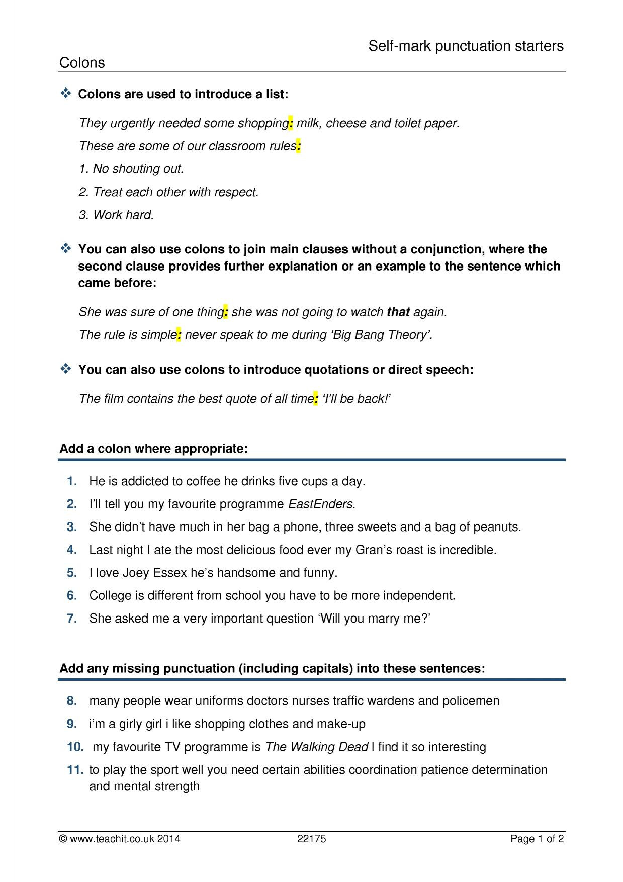 Comma Worksheets High School Pdf Ks4 Grammar and Vocabulary Punctuation Teachit English