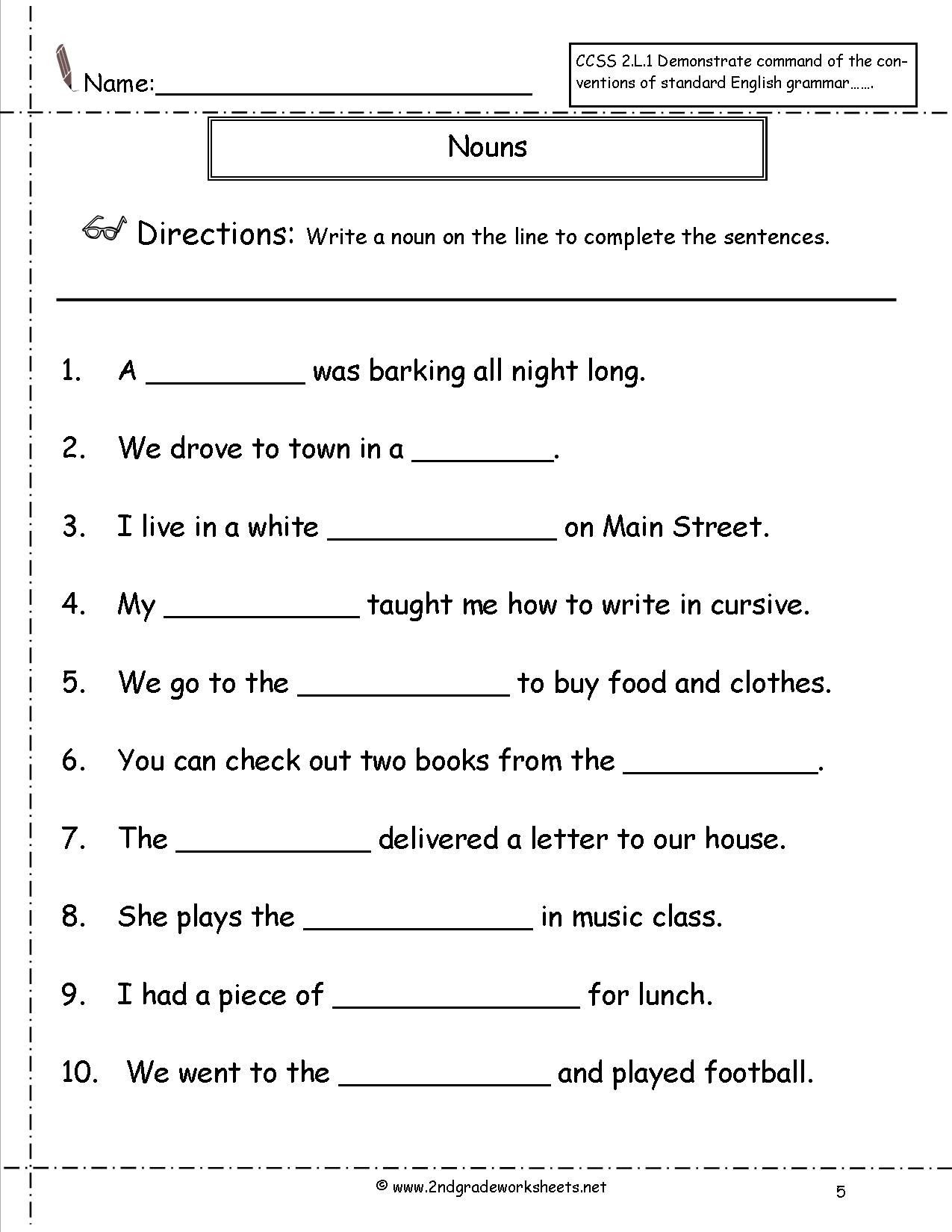 Commas Worksheet 4th Grade English Grammar Noun Worksheet for Grade 1 Elegant Nouns