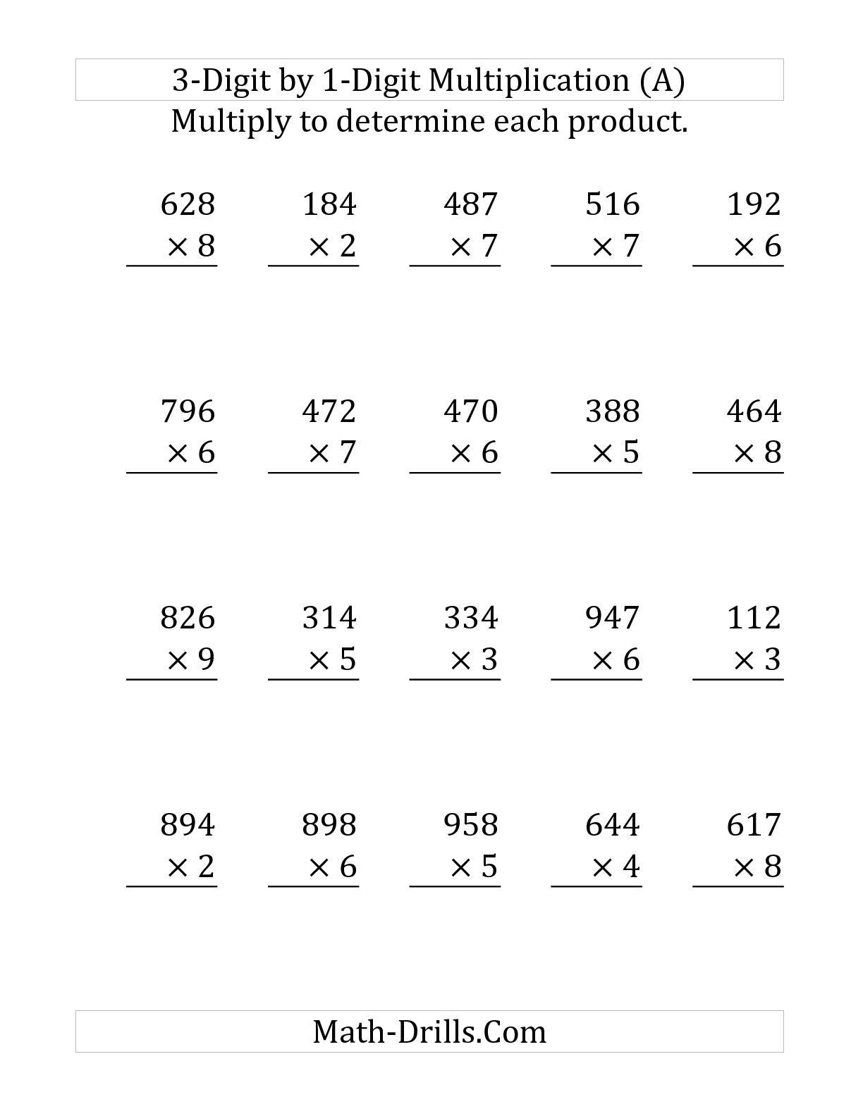 Commas Worksheet 4th Grade the Multiplying A 3 Digit Number by A 1 Digit Number